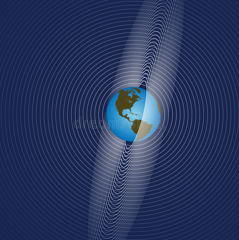 global comm-jord utstrålar vektor illustrationer