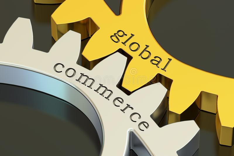 Global commerce concept on the gearwheels, 3D rendering. Global commerce concept on the gearwheels, 3D stock illustration