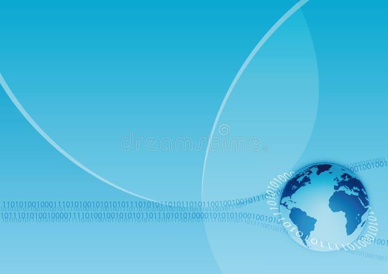 Global communication. Earth binary system communication blue background vector illustration
