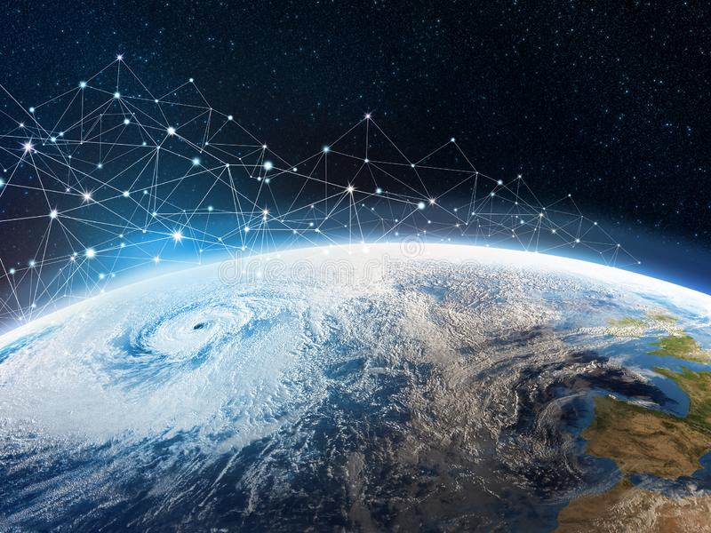 Global communication network across the planet Earth. Storage of data in the cloud storage. A look from space to the hurricane and part of the continent stock photography