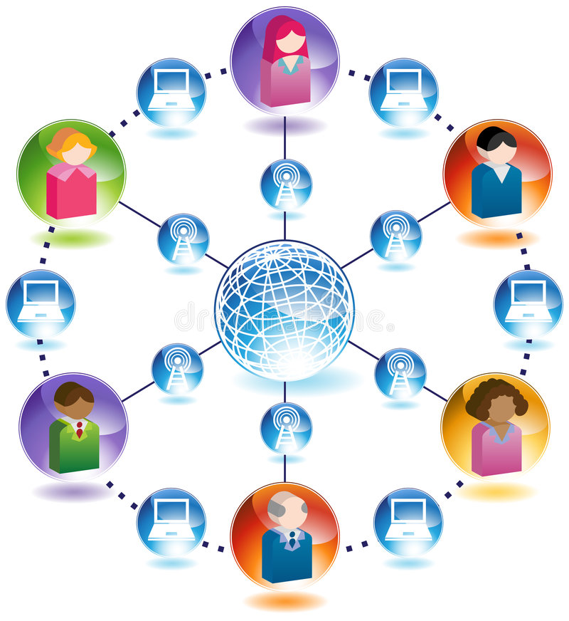 Global Communication between People on Computers vector illustration