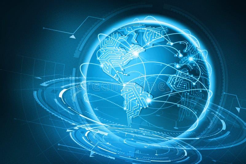 Global communication of the planet Earth. Data exchange via the Internet stock illustration