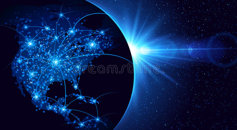 Global communication. Planet earth, global communication. Vector illustration