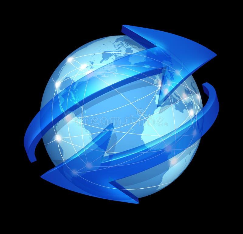 Global communications concept on black vector illustration