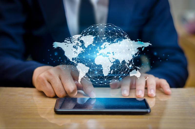 Global Communications Map Binary Smart Phones and Globe Connections Uncommon communication world Internet Business people press th. E phone to communicate in the stock photo