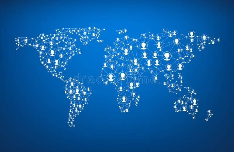 Global communications world map. stock illustration