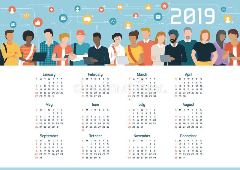 Global community connected through social media, calendar 2019. Diversity, communication and technology concept stock illustration