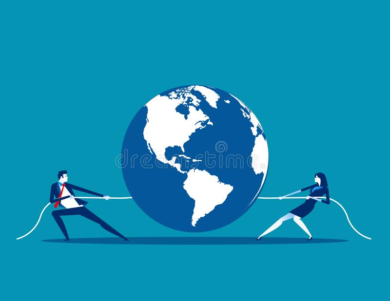 Global competition. Concept business vector illustration, Teamwork, Partnership, Tug War stock illustration