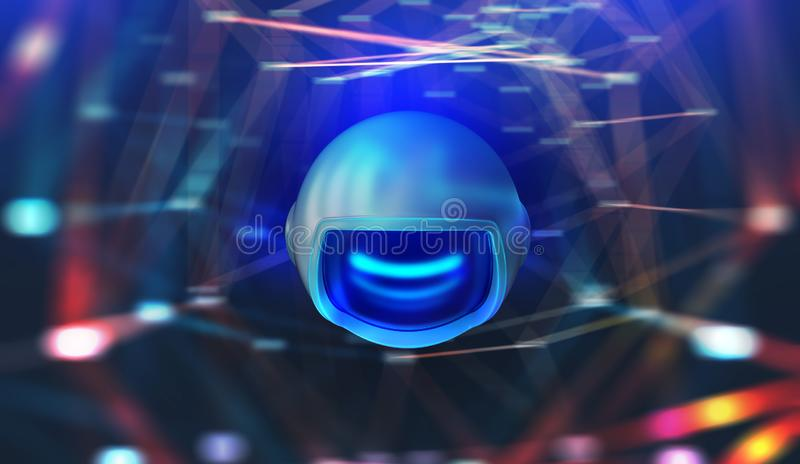 Global computer monitoring network. Artificial intelligence drone. 3D illustration. Digital Web. Future wireless technologies royalty free illustration