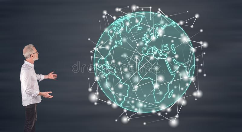 A global connection concept explained by a businessman on a wall screen. Businessman showing a global connection concept on a wall screen stock illustration