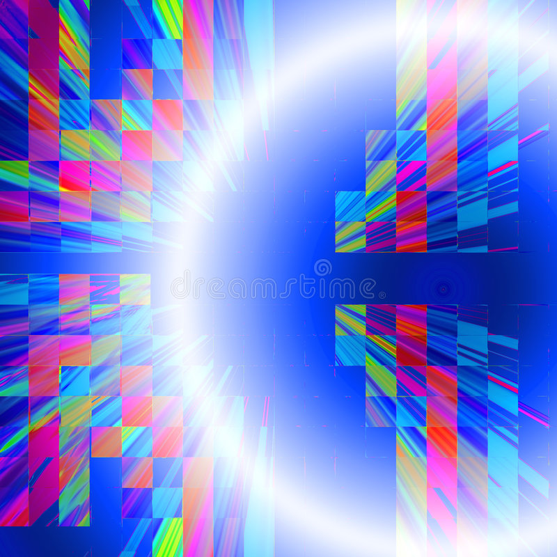 Global connections. Abstract illustration design of bright white illuminated global light or satellite abstract with colorful cube boxes mosaic on blue, good for stock illustration