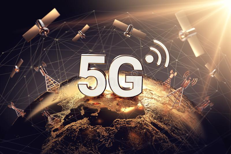 Global connectivity concept with worldwide communication network and 5G word. Focused above territory of Europe concept. 3D royalty free illustration
