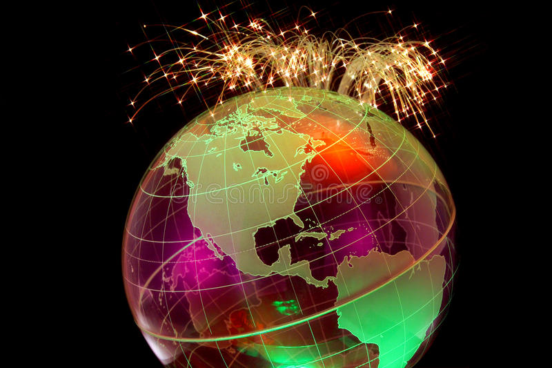 Global Connectivity with Fiber Optics. Fiber Optics Cables Bursting over Globe Horizon stock photography