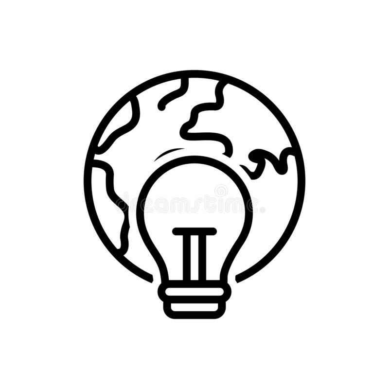 Black line icon for Global Consumption, global and warming. Black line icon for Global Consumption, greenhouse, environment, weather,  global and warming royalty free illustration