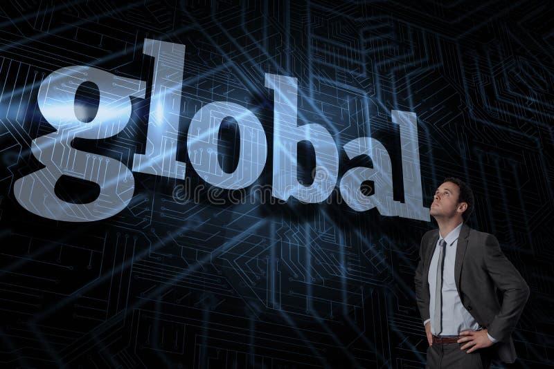 Global contra o fundo preto e azul futurista fotografia de stock royalty free
