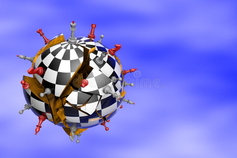 Global Crisis. Symbolic frame (cracked and falling ball chess chess royalty free illustration