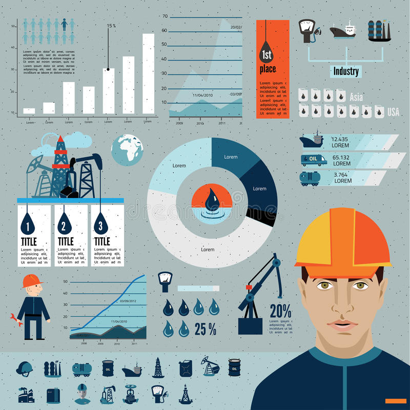Global crude oil drilling and refining industrial process petroleum production distribution business infographic. Statistic presentation vector illustration vector illustration
