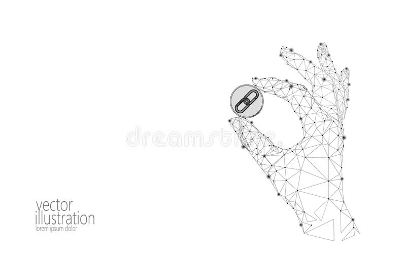 Global cryptocurrency GCC coin blockchain link low poly hand. Polygonal geometric 3d render point live digital royalty free illustration