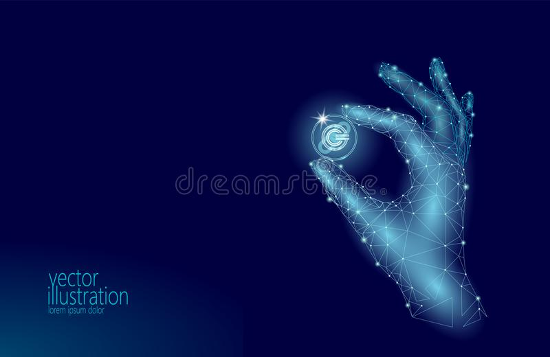 Global cryptocurrency GCC coin blockchain link low poly hand. Polygonal geometric 3d render point live digital stock illustration