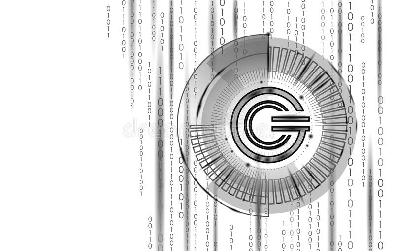 Global cryptocurrency GCC coin geometric symbol. 3d render hud target display digital electronic banking future. Innovation business technology vector stock illustration