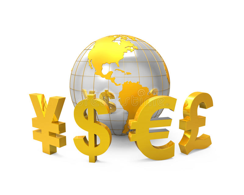 Global Currencies Around a Globe stock illustration