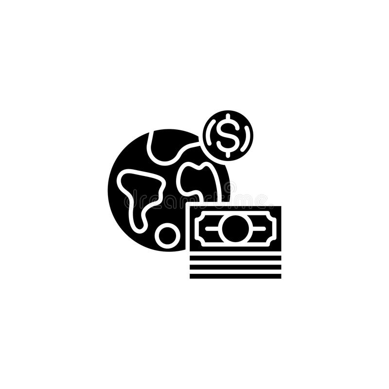 Global currency black icon concept. Global currency flat vector symbol, sign, illustration. royalty free illustration