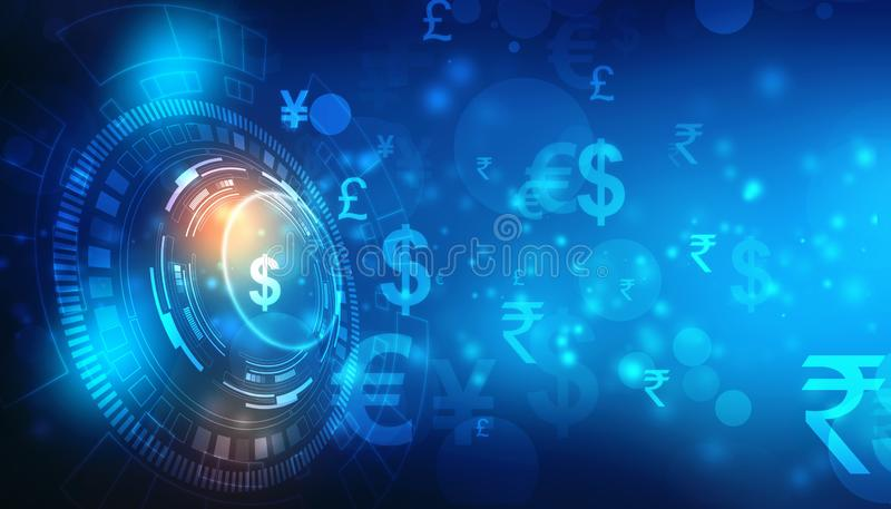 Global Currency on technology background, Money transfer, Stock market concept stock images