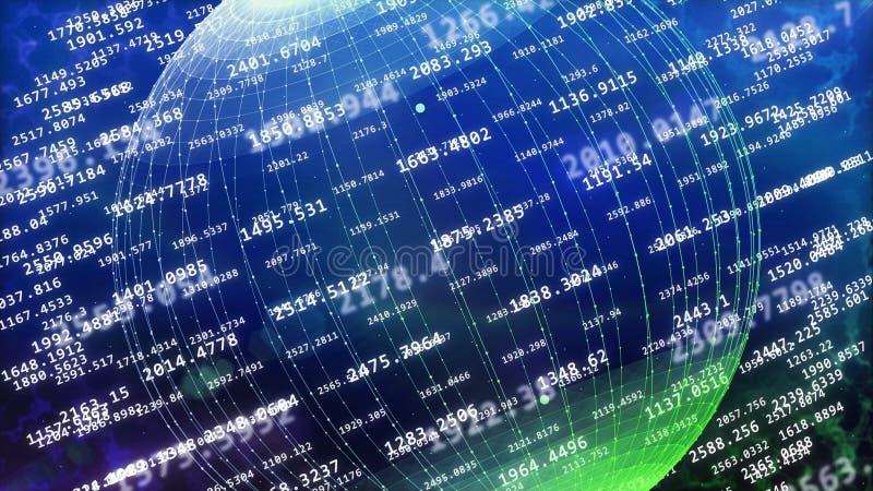 Global cyberspace som täckas med decimal- siffror royaltyfri illustrationer