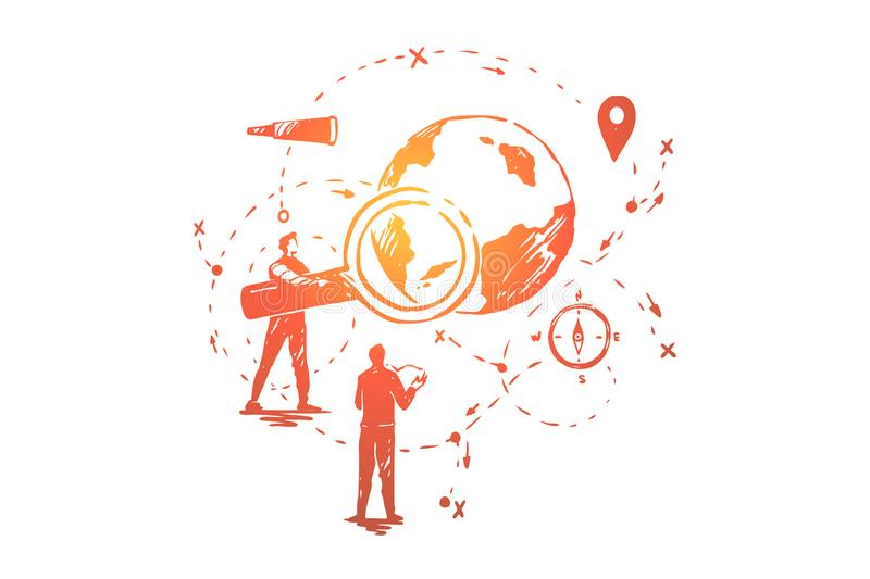 Global data analysis, seo research, navigation system development, people planning business expansion strategy. Global data analysis, seo research, navigation vector illustration