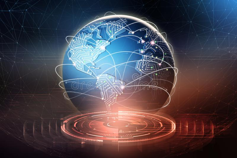 Global data exchange. Formation of a planetary communication network. Business in the field of digital technologies. 3D illustration royalty free illustration