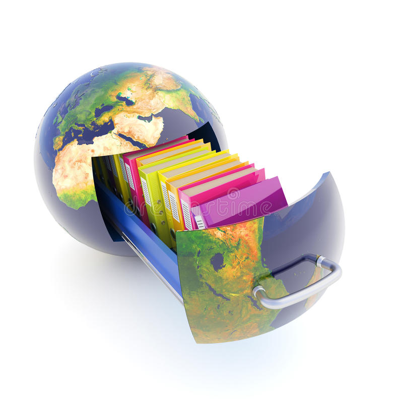 Global data storage. Folder with documents in a drawer, slide out of the Earth. Hi-res digitally generated image royalty free illustration