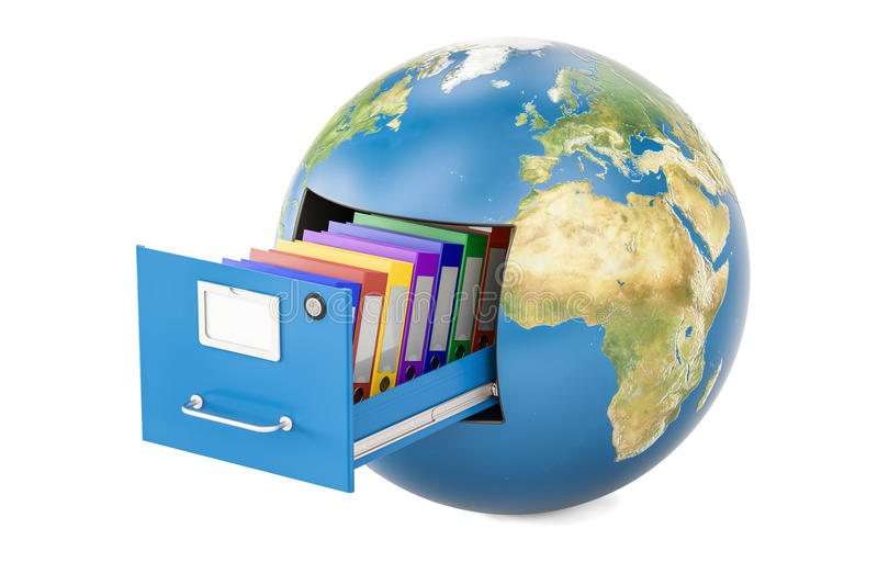 Global data storage. Earth globe with folders in filing cabinet, 3D rendering isolated on white background stock illustration