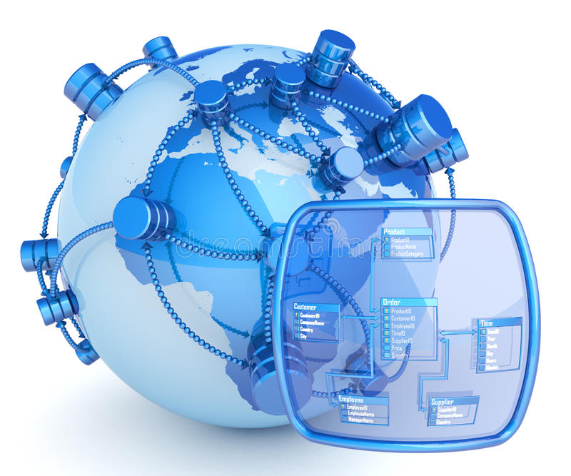 Global database. Database symbols on the surfaces of globe connected with each other and the screen with database structure. Hi-res difitally generated image stock illustration