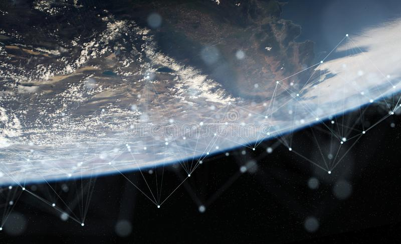 Global datas exchanges and connections system over the globe 3D rendering elements of this image furnished by NASA. Global datas exchanges and futuristic stock illustration