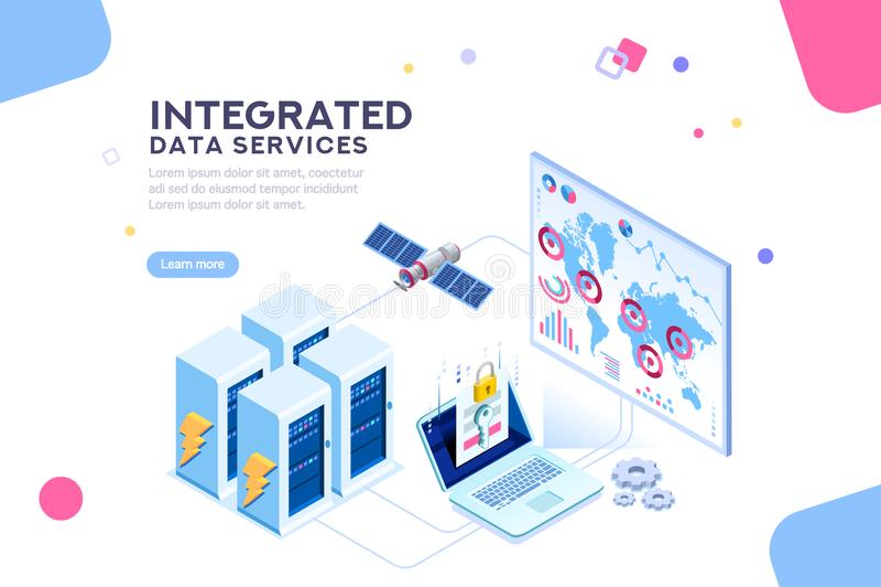 Global datorhallenergi av det framtida isometriska banret stock illustrationer