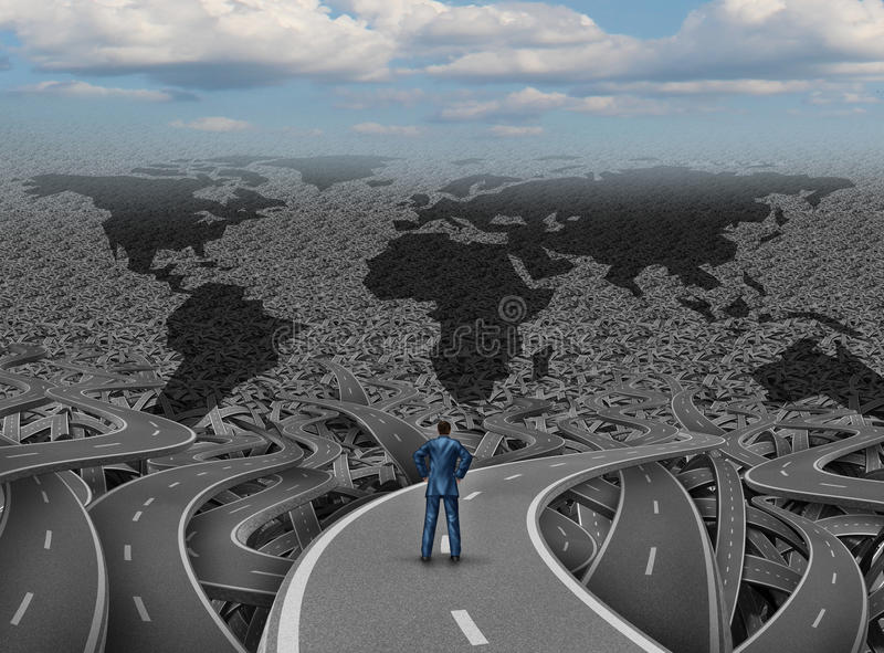 Global Direction. And world businessman road concept as a group of tangled highways with a confused man standing on a path to success as a business and economy vector illustration