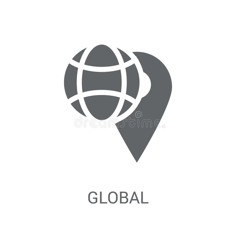 Global distribution icon. Trendy Global distribution logo concept on white background from Delivery and logistics collection stock illustration