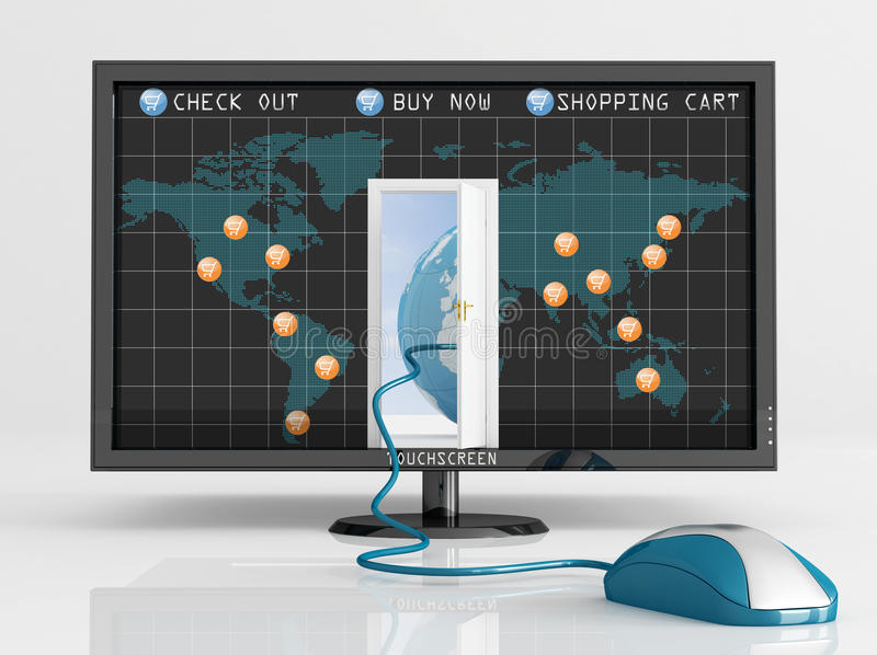 Global e-commerce royalty free illustration