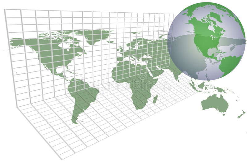 Global earth map grid vector illustration