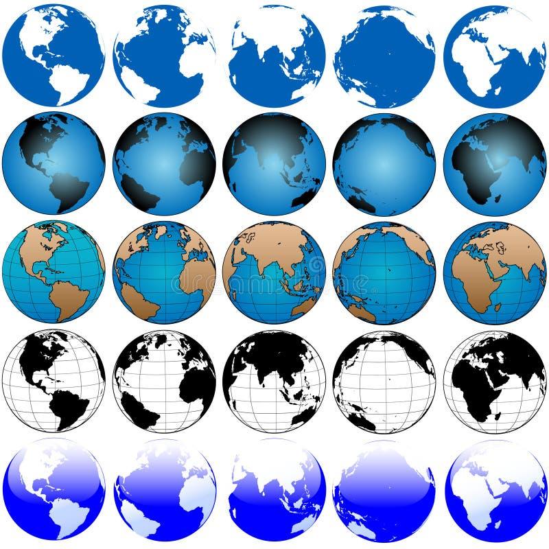Global Earth Map Set 5x5 royalty free illustration