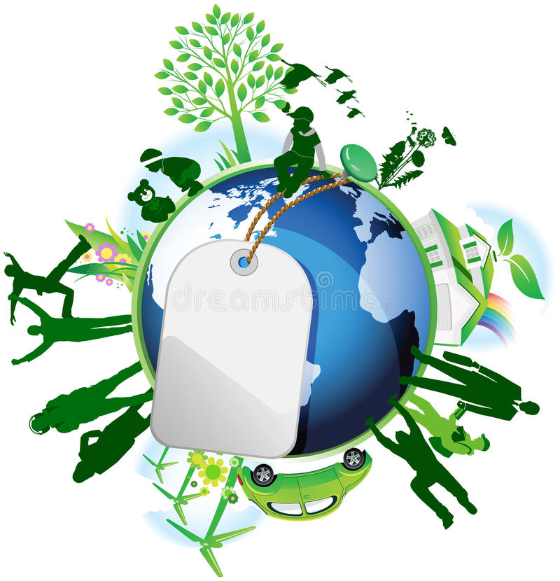 global eco vektor illustrationer