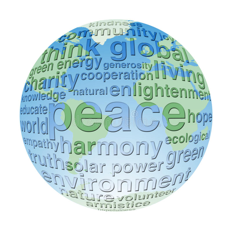 Global and eco peace word cloud globe royalty free illustration
