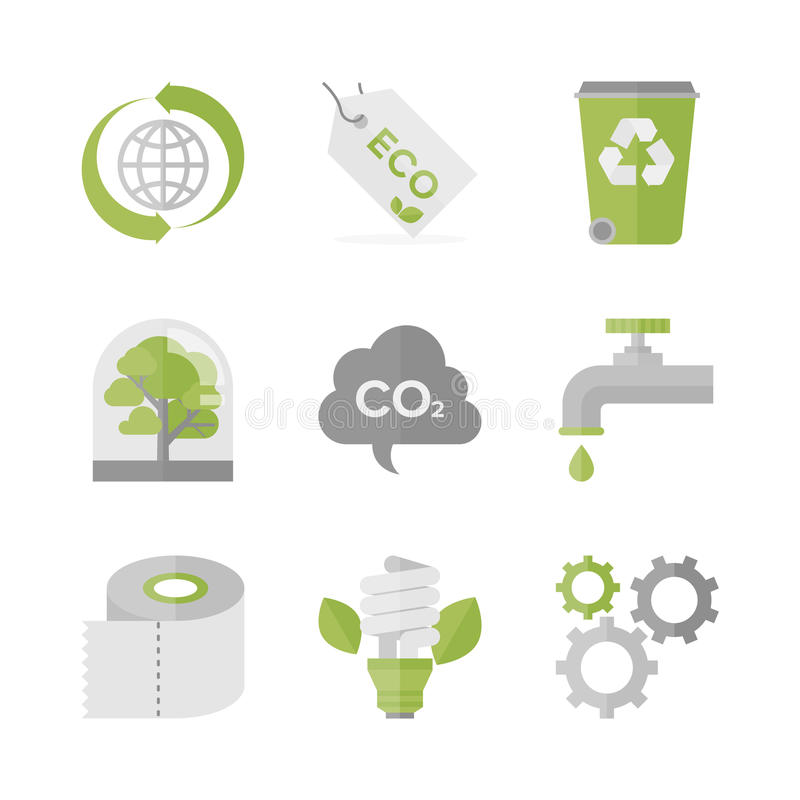 Global ecology and nature conservation flat icons set. Flat icons set of waste recycling and eco material, ecology and nature conservation, green production and royalty free illustration