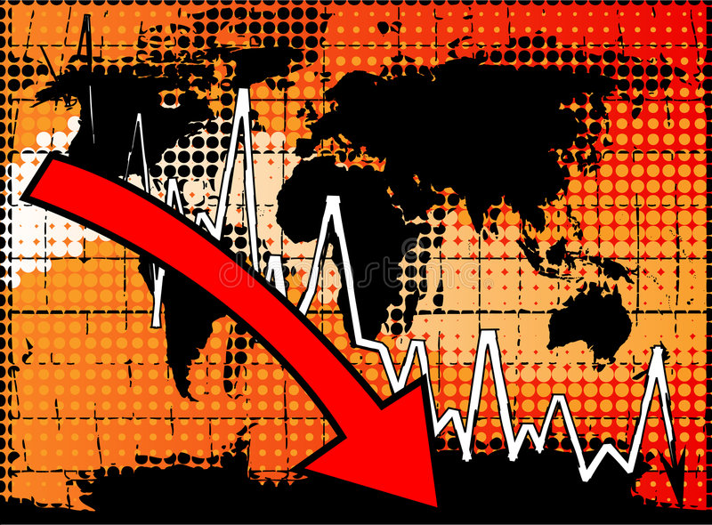 Global economic crisis. Business graph moving down- vector illustration vector illustration