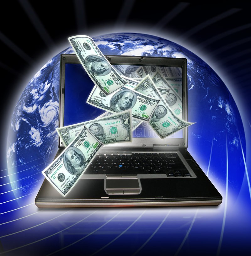 Global economy. A laptop with money coming out of the screen in front of the earth