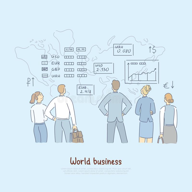Global economy analytics, finance experts analysing word business rates, foreign currency stability banner. Bankers, analysts study market trends concept stock illustration