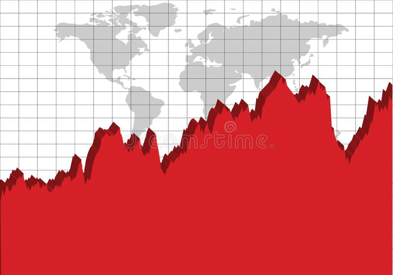 The Global Economy chart. A chart in red and a grid, with world map on the background vector illustration