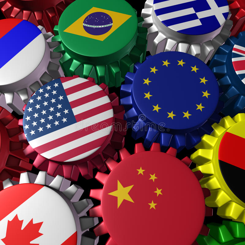 Global economy machine with U.S.A and Europe stock illustration