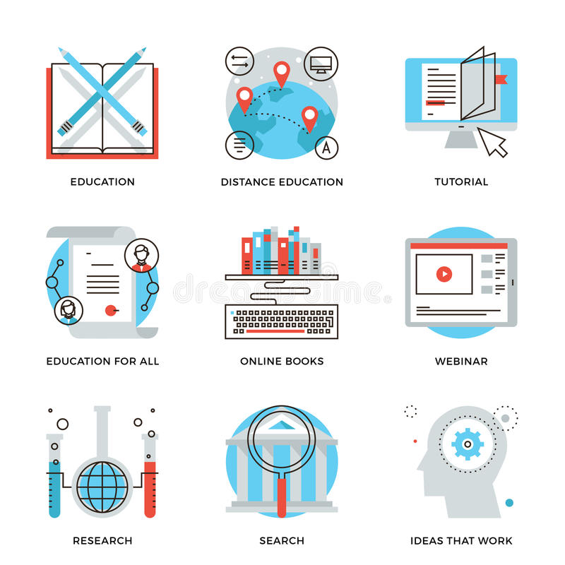Global education elements line icons set vector illustration