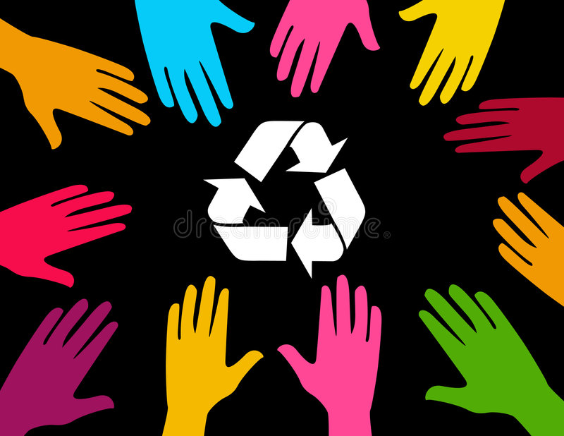 Global effort to recycle vector illustration